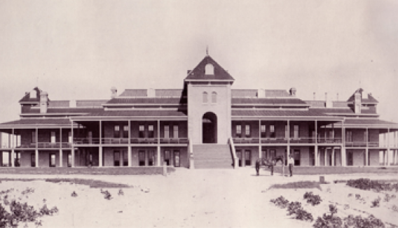 1885 front view of Old Main in Tucson, Arizona